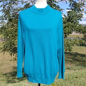 Roz & Ali Teal Mock Neck Sweater